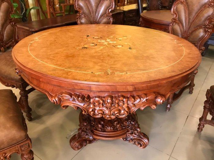 Mặt bàn ăn tròn cẩn veneer 1.27m*4cm MBA081E1
