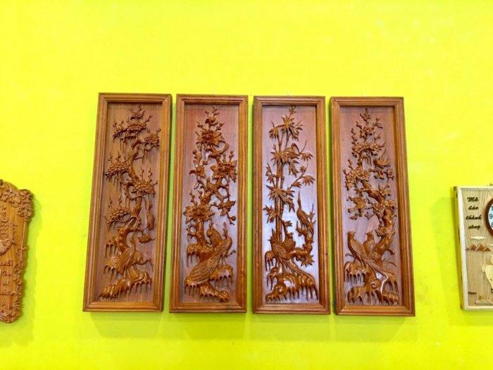 Tranh tứ quý gỗ hương đá 1.17m – LT200