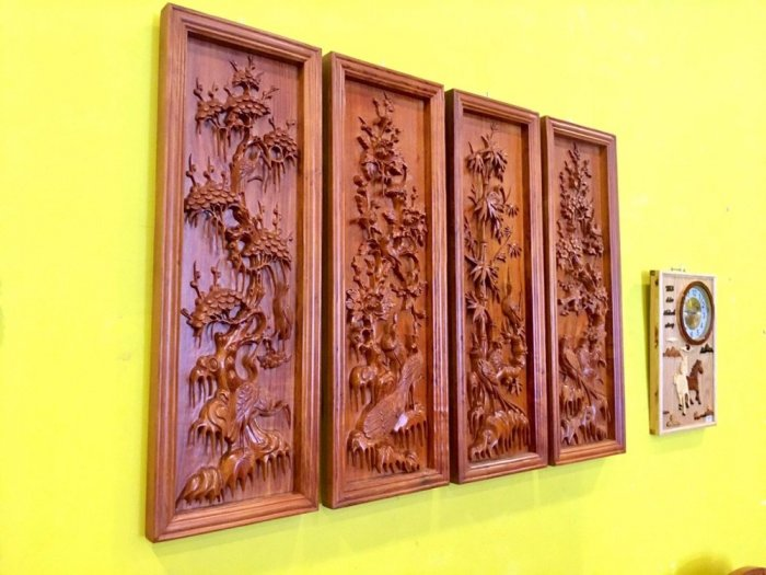 Tranh tứ quý gỗ hương đá 1.17m – LT201