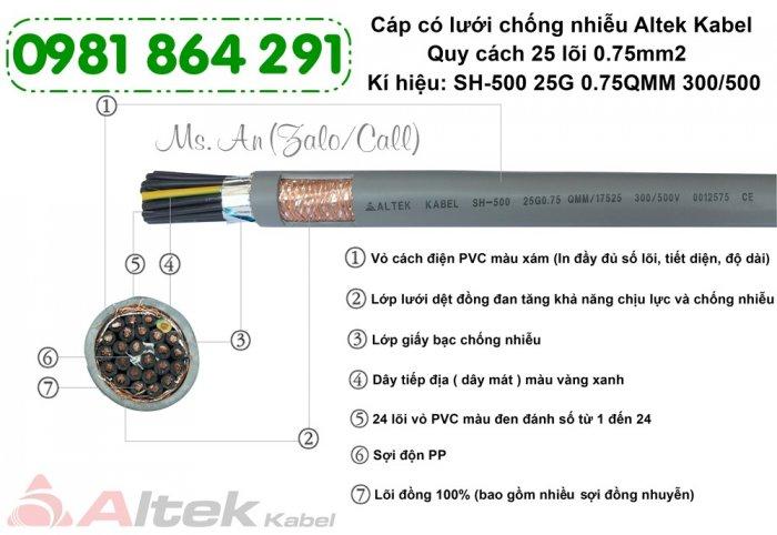 Cáp điều khiển chống nhiễu 25 lõi 25x0.5, 25x0.75, 25x1.0,25x1.5mm21