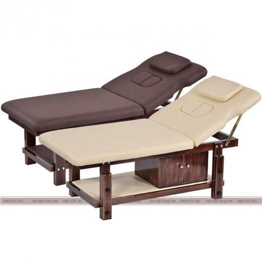 Giường massage nâng đầu gỗ sồi cao cấp màu nâu/be sang trọng1