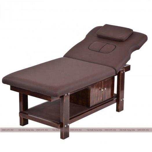 Giường massage nâng đầu gỗ sồi cao cấp màu nâu/be sang trọng0