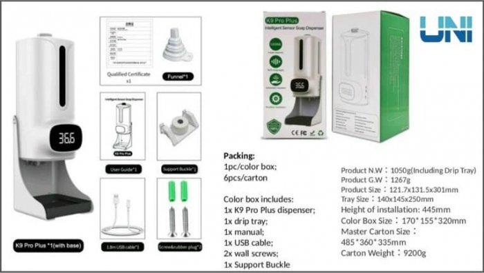 Máy rửa tay sát khuẩn tích hợp đo nhiệt độ K9PP1