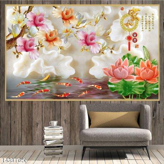 Tranh đầm sen đẹp - tranh gạch 3D2