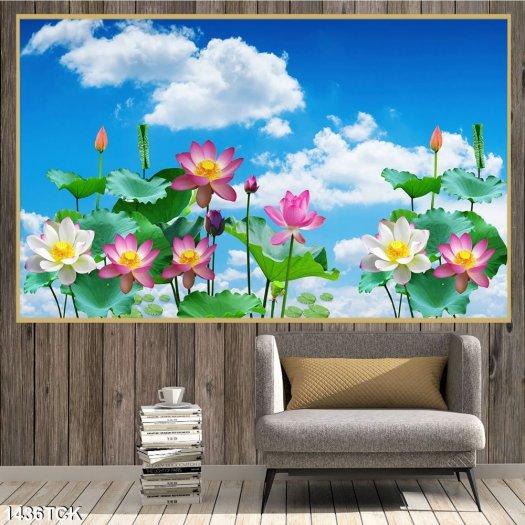 Tranh đầm sen đẹp - tranh gạch 3D1