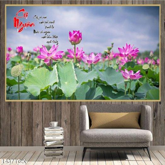 Tranh đầm sen đẹp - tranh gạch 3D0