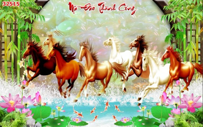 Tranh con ngựa 3d - tranh gạch con ngựa 3d - SKBV37