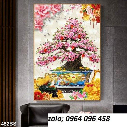 Tranh 3d hoa đào - tranh gạch 3d hoa đào - SCX328
