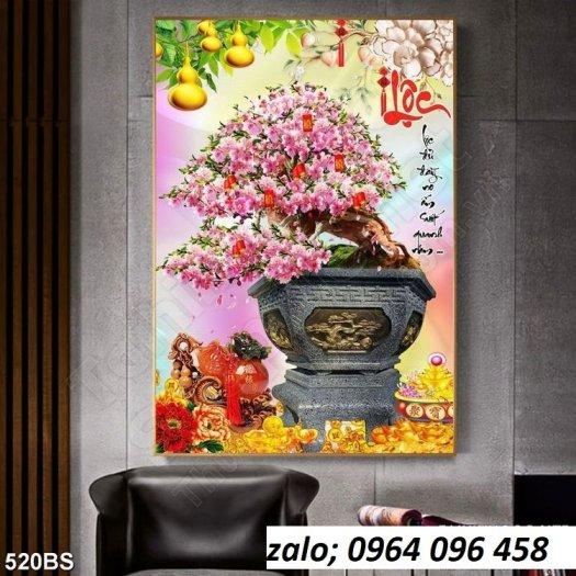 Tranh 3d hoa đào - tranh gạch 3d hoa đào - SCX326