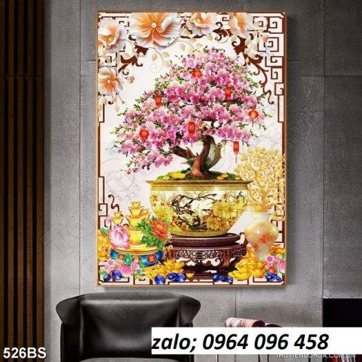 Tranh 3d hoa đào - tranh gạch 3d hoa đào - SCX325