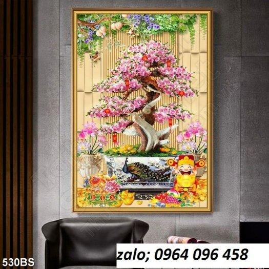 Tranh 3d hoa đào - tranh gạch 3d hoa đào - SCX324