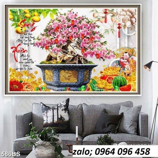 Tranh 3d hoa đào - tranh gạch 3d hoa đào - SCX320