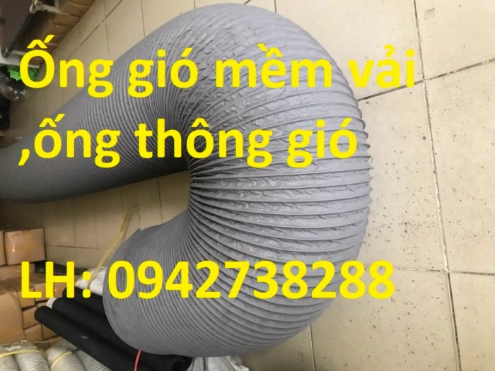 Ống gió mềm vải Tarpaulin phi 300 dùng trong hệ thống thoáng khi,hút khi tòa nhà,công trường, đường hầm0