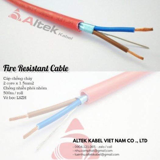 Cáp chống cháy (CC2x1.5) 2 core x 1.5mm / 1pair 16awg chống nhiễu phôi nhôm3