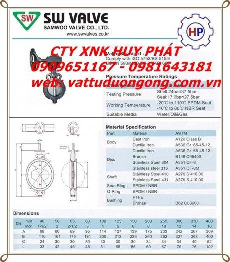 VAN BƯỚM TAY GẠT SAMWOO HÀN QUỐC, DN100 ( phi 114)3