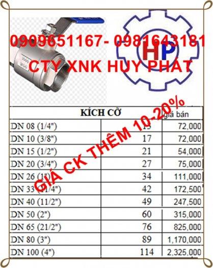 Van bi tay gạt ren DN50 ( phi 60 ) inox 3042