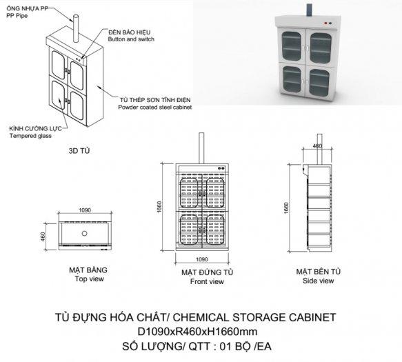 Giá tủ đựng hóa chất có lọc hấp thu kích thước 900mm9