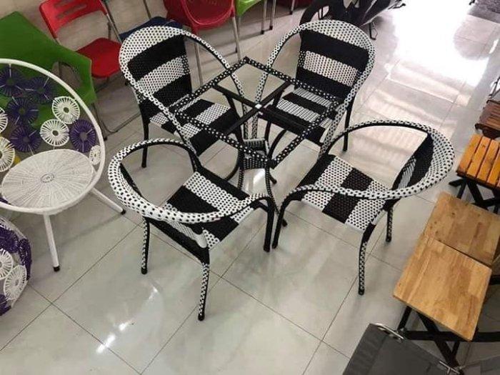 Bàn ghế nhựt trắng đen mây nhựa  có đủ màu sắc giá sì tại xưởng sản xuất anh khoa  3444440