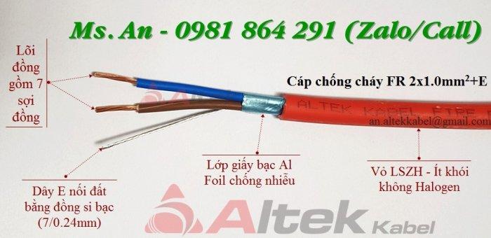 Dây cáp chống cháy 2 lõi 2x1.0/2x1.5/2x2.5mm2 + Al + E, tiêu chuẩn CE2
