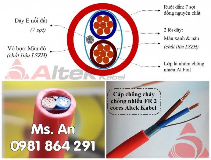 Dây cáp chống cháy 2 lõi 2x1.0/2x1.5/2x2.5mm2 + Al + E, tiêu chuẩn CE1