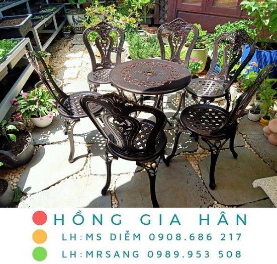 Bàn ghế nhôm đúc sân vườn Hồng Gia Hân A1230