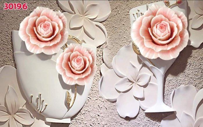 Tranh gạch men dán tường- tranh hoa 3D1