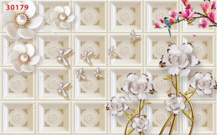 Tranh gạch men dán tường- tranh hoa 3D0