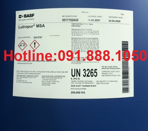 Bán MSA- Methane Sulfonic Acid, Lutropur MSA, MethaneSulfonic Acid0