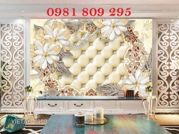 Tranh ốp phòng khách - tranh gạch 3d hoa ngọc2