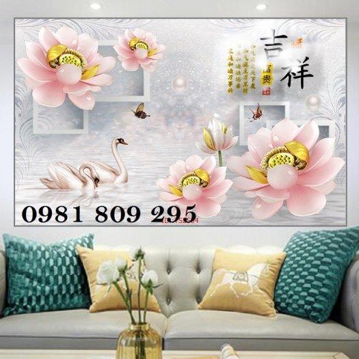 Tranh ốp phòng khách - tranh gạch 3d hoa ngọc1