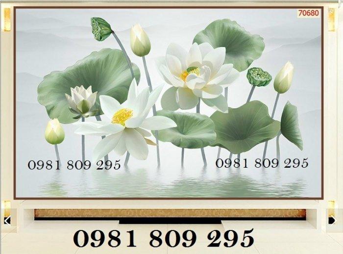 Tranh hoa sen - tranh gạch 3d dán tường2