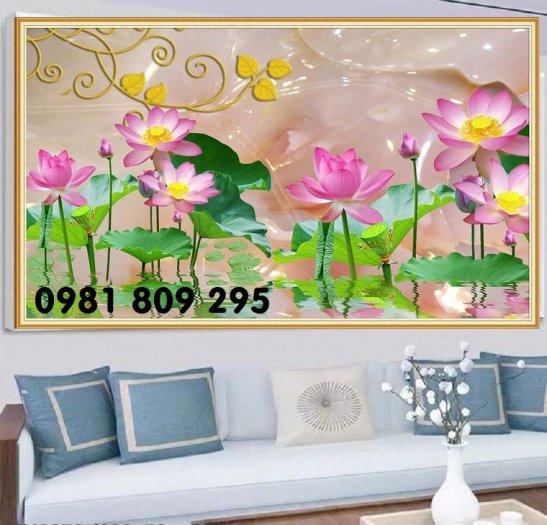 Tranh hoa sen - tranh gạch 3d dán tường0