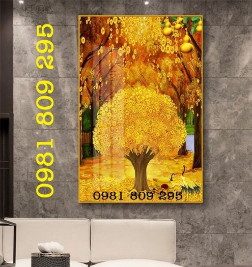 Tranh cây tài lộc - gạch tranh 3d cây đồng tiền2