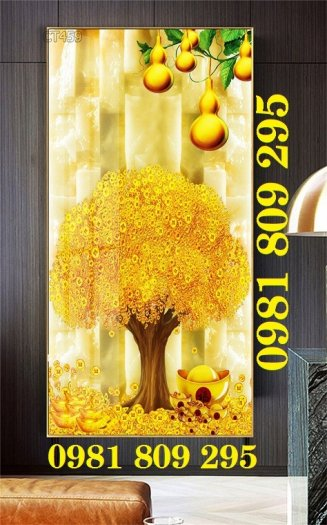 Tranh cây tài lộc - gạch tranh 3d cây đồng tiền1