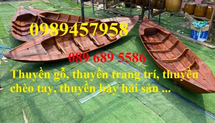 Đóng thuyền gỗ trang trí, Thuyền gỗ 2m, Thuyền 2,5m trang trí0