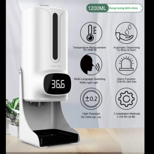 Máy đo thân nhiệt tích hợp rửa tay sát khuẩn K95