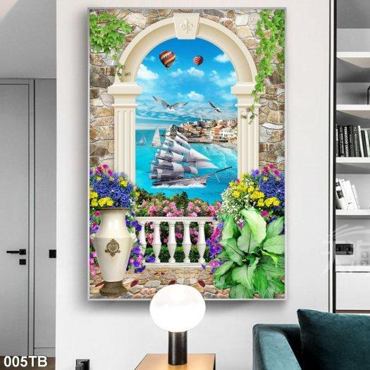 Tranh gạch men thuyền buồm trang trí nhà0
