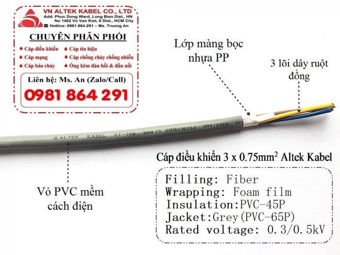 Cáp điều khiển lõi đồng mềm 3 lõi 3x0.5, 3x0.75, 3x1.0, 3x1.5 Altek Kabel3