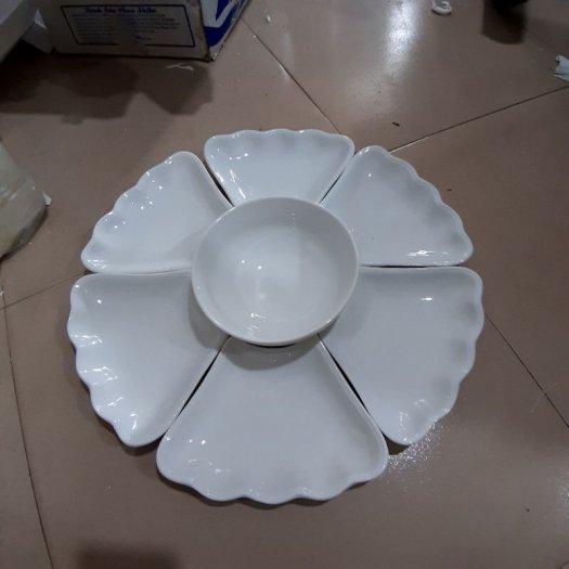 Bộ bát đĩa hoa mặt trời gốm sứ Bát Tràng2