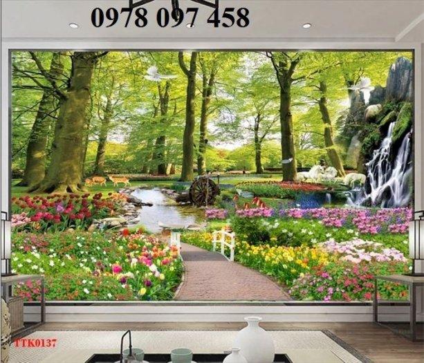 Tranh 3D vườn hoa - tranh gạch0