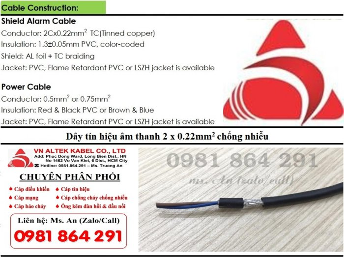 Dây tín hiệu âm thanh 2 x 0.22mm2 chống nhiễu hàng nhập khẩu3