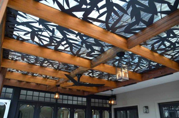 Mái hiên mái đón hoa văn CNC tạo hiệu ứng ánh sáng đẹp sang trọng3
