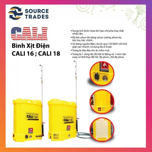 Bình xịt điện Cali 16D, 16 lít phun xịt nước tưới, phun khử trùng (Vàng)3