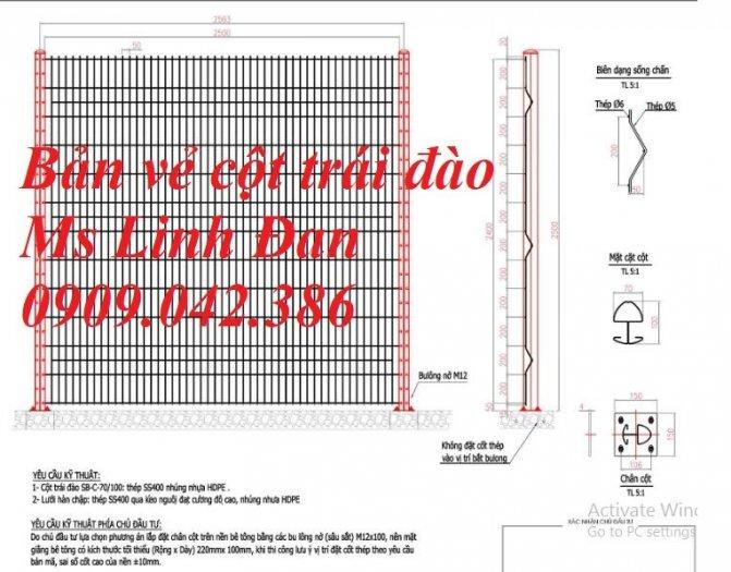 Hàng rào cột trái đào D5a50x150, D5a50x200 sơn tĩnh điện8