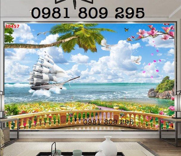 Tranh 3d thuyền - gạch 3d trang trí0