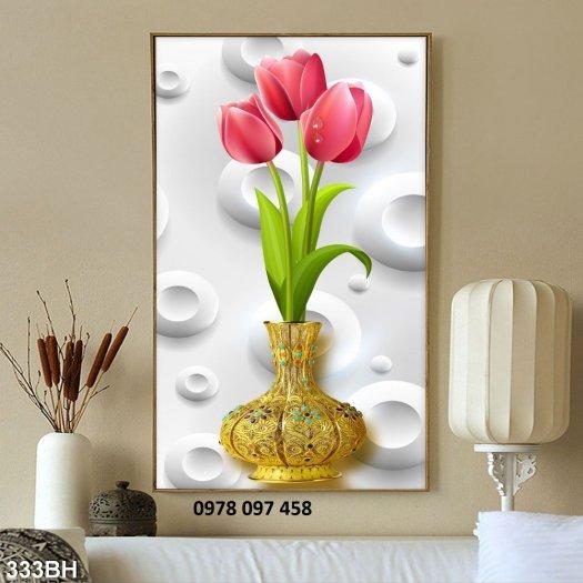 Tranh gạch men - bình hoa 3D0