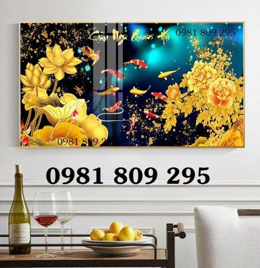 Tranh hoa sen - gạch tranh 3d cá chép ,cửu ngư2