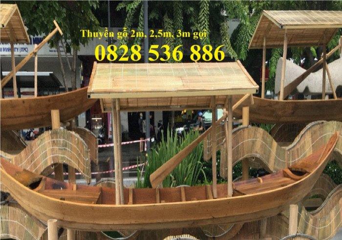 Mẫu thuyền gỗ đẹp trang trí nhà hàng, Thuyền gỗ trưng bày quán hải sản, Thuyền gỗ trang trí 3m17