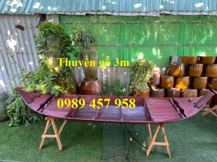 Mẫu thuyền gỗ đẹp trang trí nhà hàng, Thuyền gỗ trưng bày quán hải sản, Thuyền gỗ trang trí 3m6