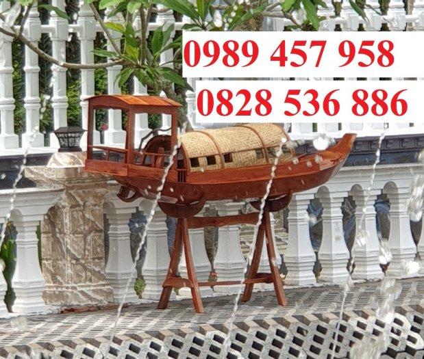 Mẫu thuyền gỗ đẹp trang trí nhà hàng, Thuyền gỗ trưng bày quán hải sản, Thuyền gỗ trang trí 3m4